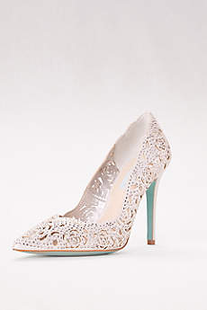 Blue By Betsey Johnson Grey Pumps (Crystal Embellished Laser-Cut Pointed Toe Pumps)