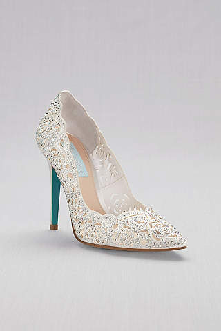 Superbe Blue By Betsey Johnson Grey Closed Toe Shoes (Crystal Embellished Laser Cut  Pointed Toe