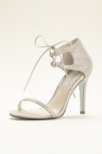Blue by Betsey Johnson Satin Crystal Tie Sandal SBGABI