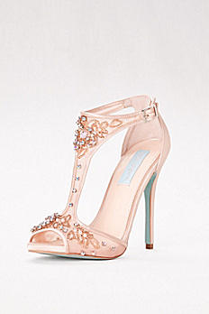 High Heel Embellished Mesh T-Strap Sandals SBHOLLY