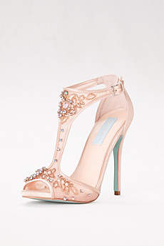 Blue By Betsey Johnson Ivory Sandals (High Heel Embellished Mesh T-Strap Sandals)