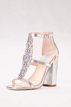 Blue By Betsey Johnson Grey Peep Toe Shoes (Crystal T-Strap High Heel Sandals with Block Heel)