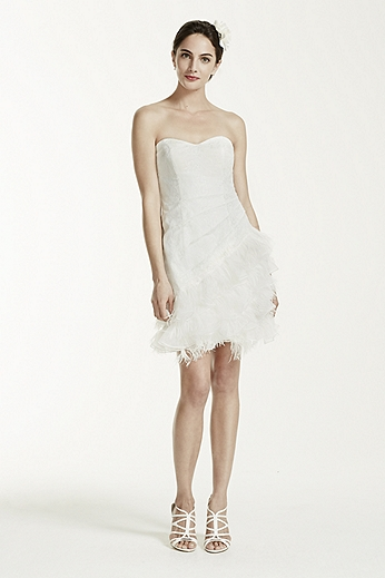 Short Strapless Lace Dress with Feather Trim SDWG002