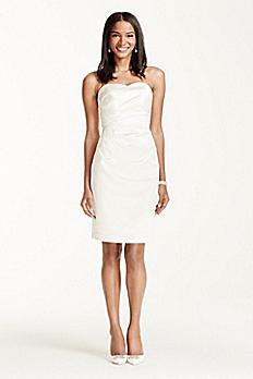 Strapless Lace Applique Bodice Short Satin Dress SDWG0119