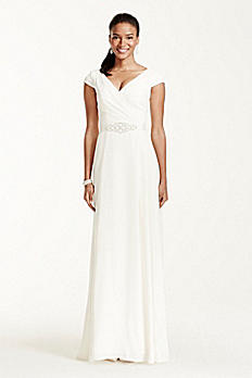 Cap Sleeve Crepe A-Line Gown with Beaded Sash SDWG0122