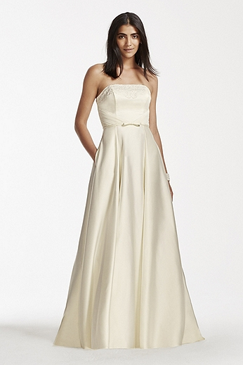 Strapless Satin Aline Gown with Pockets SDWG0235
