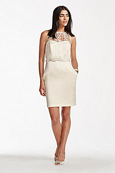 Short Strapless Satin Sheath with Popover Shirt SDWG0246