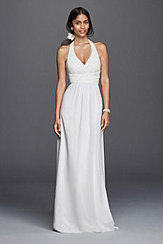 Chiffon Sheath Halter Wedding Dress SDWG0394