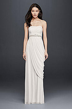 Sheath Wedding Dress with Beading and Side Drape SDWG0417