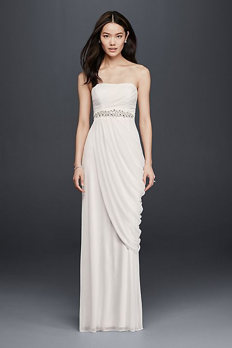 Sheath Wedding Dress with Beading and Side Drape | David\'s Bridal