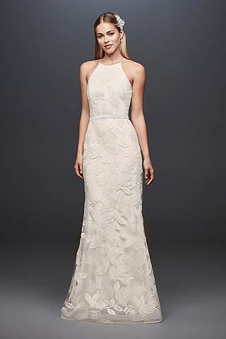 High neck wedding dresses gowns davids bridal long sheath casual wedding dress db studio junglespirit Images