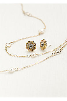 Pearl and Crystal Chain Necklace Set. SE1400