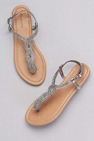 Womens dress shoes bridesmaid heels sandals and flats davids davids bridal grey sandals crystal studded scalloped metallic t strap sandals junglespirit Image collections