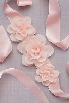 3D Organza Blossoms Flower Girl Sash