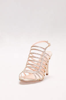 Pink Paradox Grey (Glitter Curved Cage High Heel Sandals)