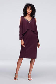 Tea Length Sheath Long Sleeves Cocktail and Party Dress - SL Fashions