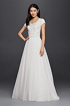 Modest Short Sleeve Petite A-Line Wedding Dress 7SLWG3811