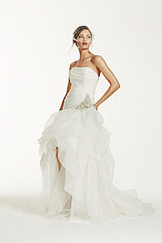 Organza and Tulle High-Low Gown with Beaded Flower AI26010039