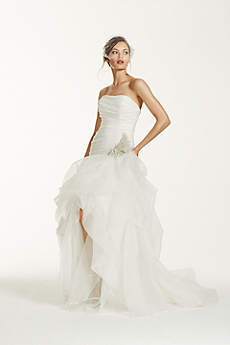 Organza and Tulle High-Low Gown with Beaded Flower