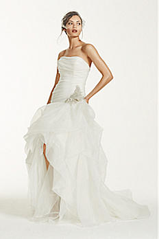Organza and Tulle High-Low Gown with Beaded Flower SPK470