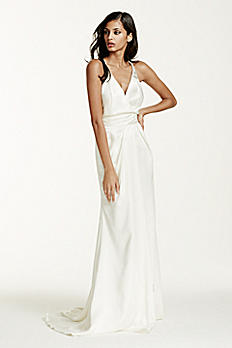 Double Faced Satin Gown with Front Slit Detail SRL642