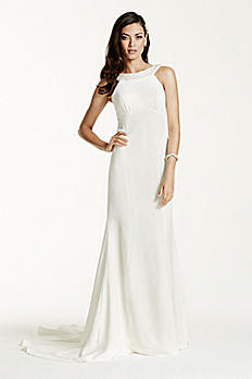 Crepe Halter Sheath Gown with Draped Back AI26020109