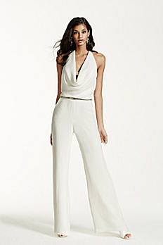 Ivory Wedding Jumpsuit with Cowl Neck SRL682