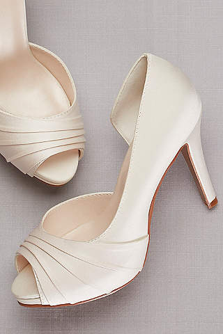 Davidu0027s Bridal Ivory Peep Toe Shoes (Pleated Satin Du0027Orsay Platform ...
