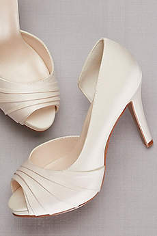 David's Bridal Ivory Peep Toe Shoes (Pleated Satin D'Orsay Platform Pumps)