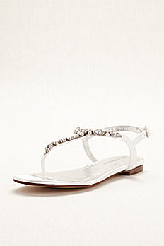 Pearl and Crystal Encrusted Dyeable T-Strap Sandal STELLAWHITE
