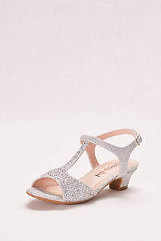 Blossom Grey Flowergirl Shoes (Glitter Girls' T-Strap Low Heel Sandal)