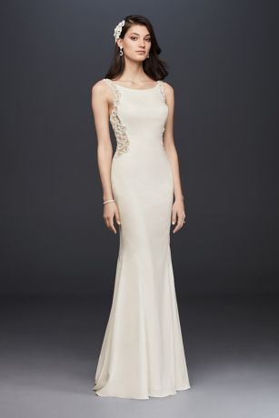 Beaded illusion and crepe sheath wedding dress david 39 s for Simple form fitting wedding dresses