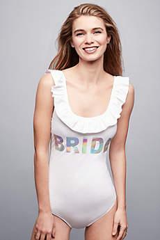 Bride Ruffled Hologram Swimsuit