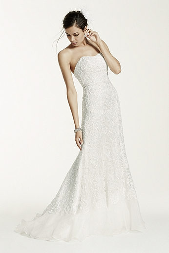 Petite Lace Over Charmeuse Gown 7SWG400