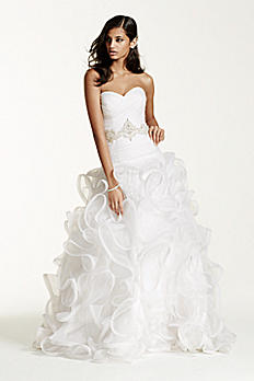Ruffled Skirt Wedding Gown with Embellished Waist SWG492