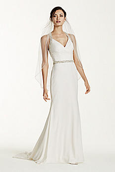 Halter Chiffon Sheath Gown with Beaded Straps SWG645