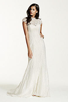 As-Is Lace Sheath Gown with Capelet Embellishment AI26020094