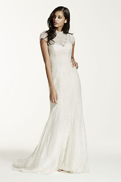 Lace Sheath Gown with Capelet Embellishment   David\'s Bridal
