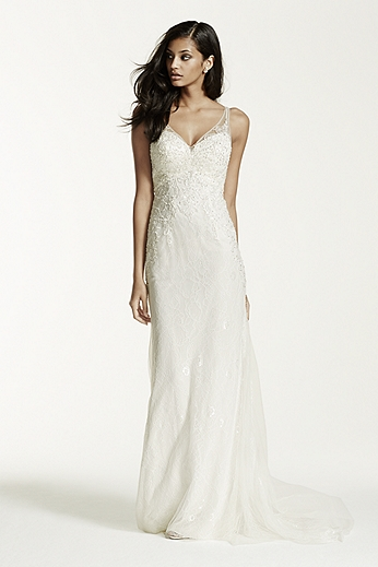Lace Sheath Gown with V Neckline SWG675