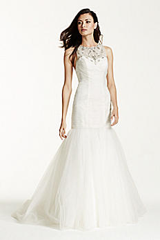 Illusion Tulle Trumpet Gown with Crystal T Back SWG679