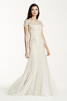 As-Is Short Sleeve Tulle Sheath Gown AI26020111