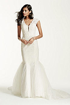 Illusion Deep Plunge Neckline Lace Trumpet Gown SWG681