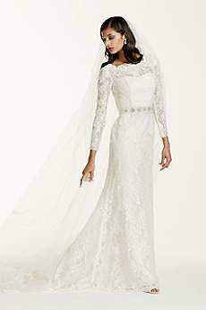 Long sleeve lace wedding dresses davids bridal long sheath vintage wedding dress galina signature junglespirit Images