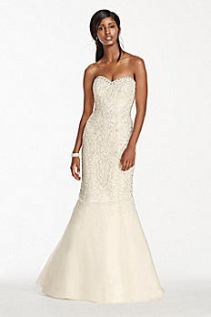 Strapless Crystal Beaded Tulle Fit and Flare Gown SWG688