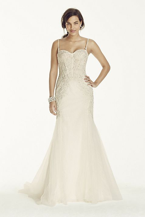 Spaghetti Strap Trumpet Gown with Corset Bodice | David\'s Bridal