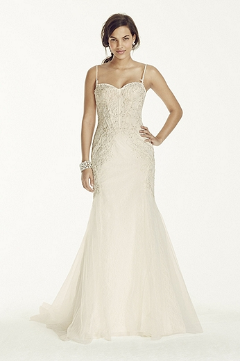 Spaghetti Strap Trumpet Gown with Corset Bodice 7SWG690