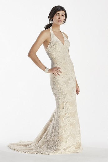 Scallop Beaded Lace Halter V-Neck Trumpet Gown 7SWG691
