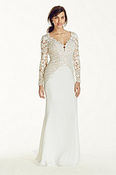 Long Sleeve Beaded Lace Plunge Neckline Gown SWG695