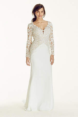 Plus size wedding dresses with sleeves davids bridal long sheath romantic wedding dress galina signature junglespirit Image collections