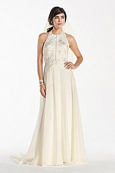 Deco-Inspired Beaded Chiffon Halter Gown SWG696